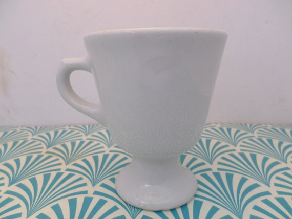 Vintage cup Sterling vitrified china East Liverpool OH USA classic pedestal white diner, cafe
