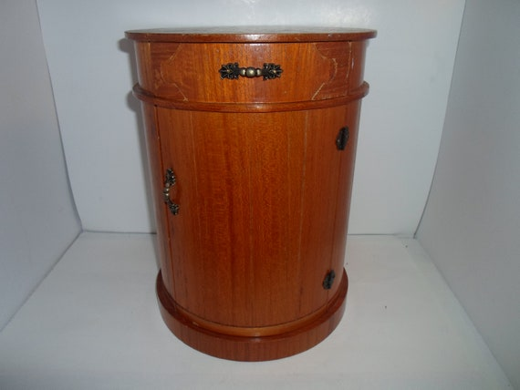 "Vintage Fine Craftsmanship 1980's Round Wood Barrel Drawers Doors 12"" tall 9"" wide Functional Unusual Jewelry Box Desk Top Ready 26""around"