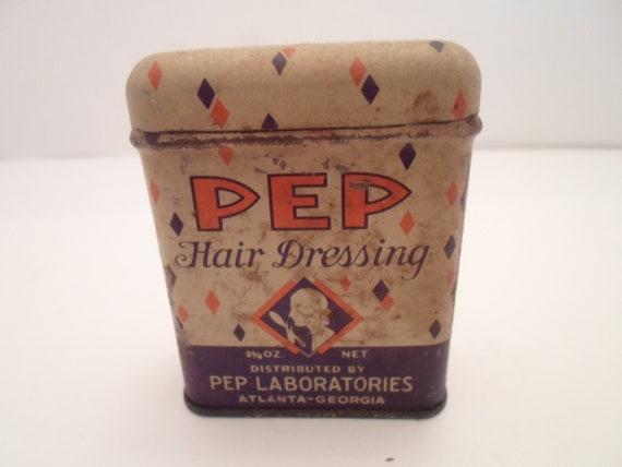 Art Deco PEP Hair Dressing Tin Full  made in USA Atlanta Georgia City Chic Lady