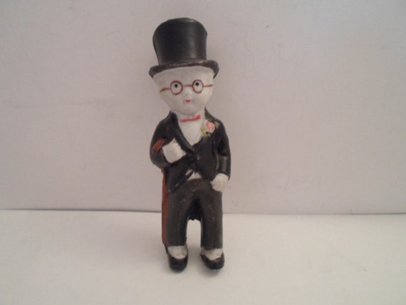 "Art Deco Groom Cake Topper Top Hat Tails Round Glasses Chaplin Look Bisque 5"" Guy Doll Wedding Bride Groom kids"