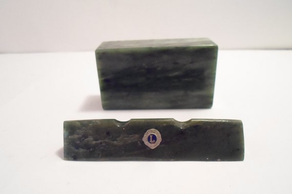 Mid Century Green Marble Paperweight & Pen Rest Lions Club Advertising Office Ready Desk Chic Beautiful Color Desk Set