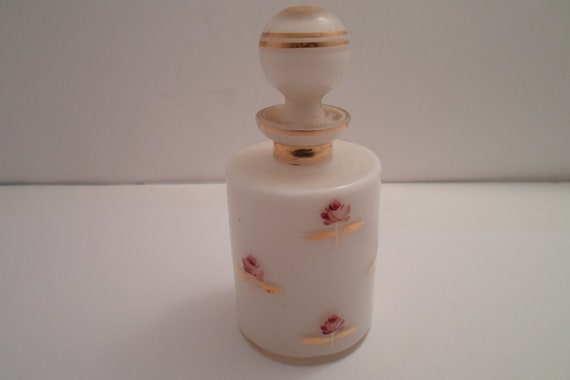 Vintage Hand Blown Cased Milk Glass Perfume Bottle and Stopper Gold Leaf and Hand Painted Roses Vanity Chic US Zone Germany