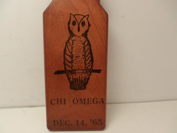 Vintage sorority fraternity Chi Omega Phi Epsilon 1965 mini paddle
