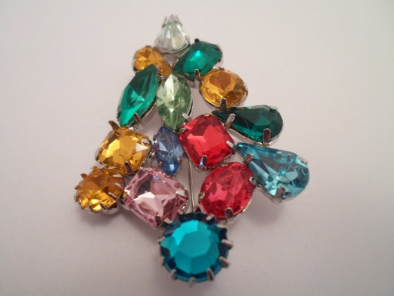 Vintage Haskell Holiday Rhinestone Christmas Tree Pin Brooch Abstract Design Miriam Haskell Designer Crystal Clear Color Rhinestone