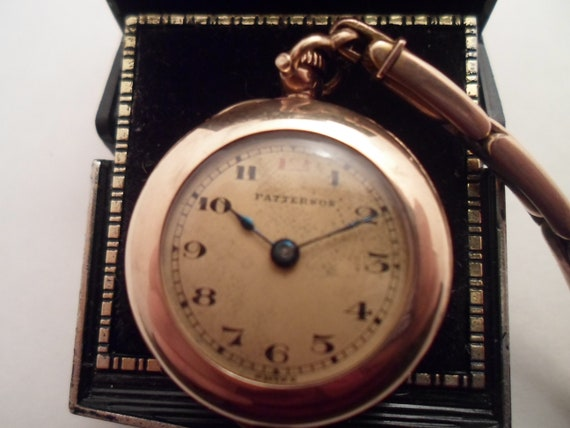 Antique 1920's Gold Filled Patterson Ladies Wrist Watch Engraved name on Back Large Face As found