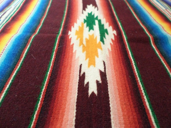 """Vintage Mexican Hand Woven table runner deep red turquoise more 20"""""""