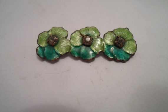 Vintage Art Deco Enamel on Brass Bar Pin Delicate Pansy Flowers Chic Flowers of the Era Estate on Michigan Lake Bluff