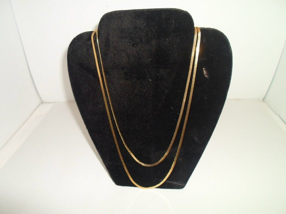 """Vintage 2 Layering Monet 80's Gold Necklaces  24"""" and 20"""" Beautiful Patina Marked with tag"""