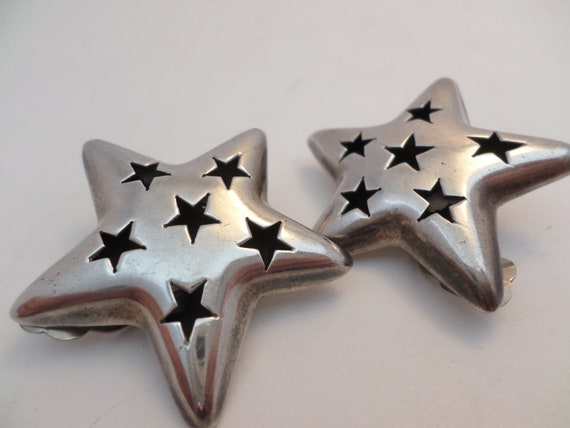 """Mexican 925 Sterling Silver 1.5"""" star earrings WOW clip vintage TZ-14"""