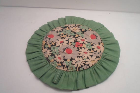 "Art Deco Era Green Daisy Print 7"" Hand Made  Powder Puff Pot Holder Duster Hot Pad Adorable Display Use or Re purpose"