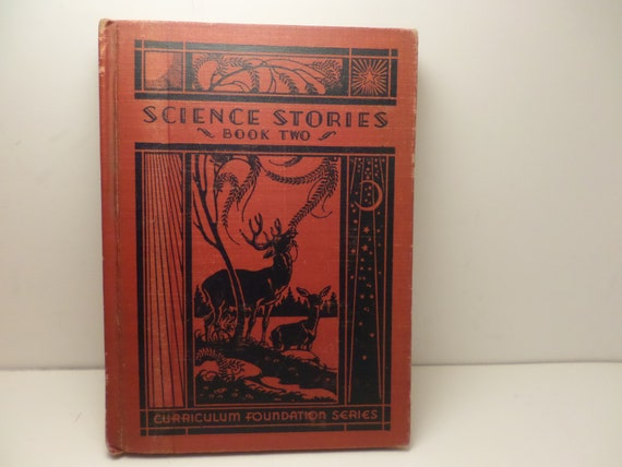 Vintage 1935 Art Deco Science Stories Book Two fabulous illustrations library book