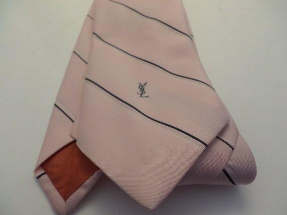 "Vintage Yves Saint Laurent neckwear tie pink navy white stripes, 3"""