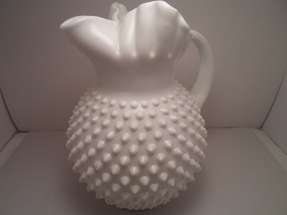 Antique Fenton Hobnail Milk Glass Large Pitcher Pinched Ice Lip Pleated Top Applied Handle Old World Quality Farmhouse Cottage Chic