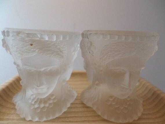 Lot of 3 Antique three faces salt dips Lalique design Fabulous