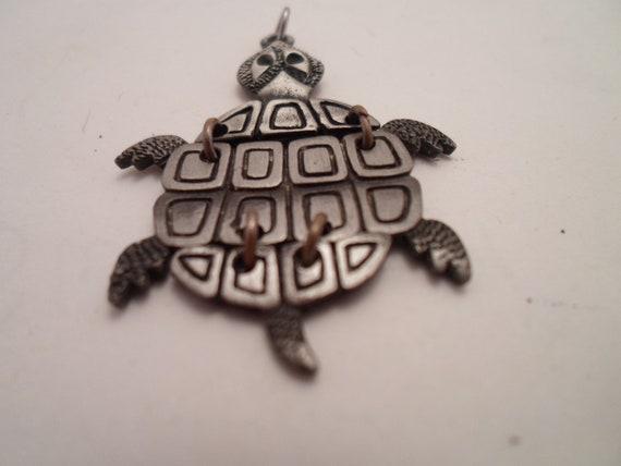 Vintage Pewter 1980's Turtle Pendant Linked to Move Sea Turtle Nature Save the Planet Animal Welfare