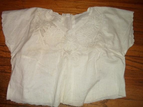 Antique Camisole Unfinished or Salvaged Victorian Floral Lace Inserts As Found