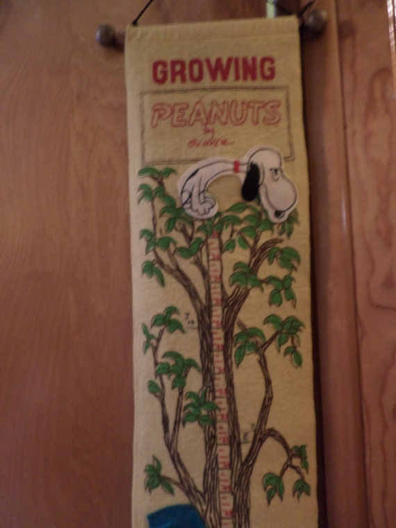 Vintage 60's Peanuts growing chart for childrens wall Charlie Brown, Snoopy United Feature Syndicate