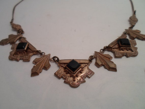 Antique Art Deco Necklace French Jet Black Stones Etched Gold Tone Brass Petals Faceted  Stones Beautiful Victorian Likeness Design
