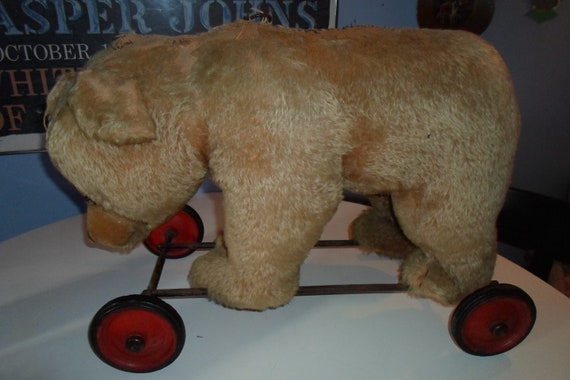 "Antique Steiff Growler Large Ride On Mohair Bear 15""High 22""Long  Button in Ear Glass Eyes German Cottage Christmas Rare Estate to you"