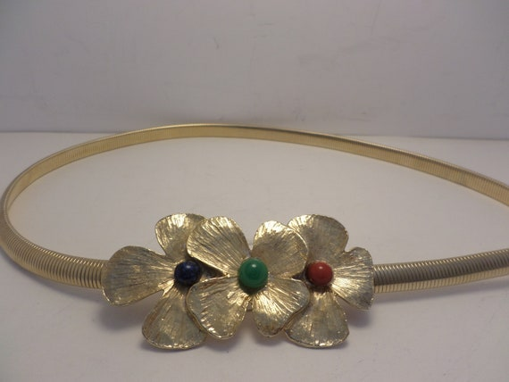 70's vintage gold tone flower clasp belt coral blue green red stones USA MADE