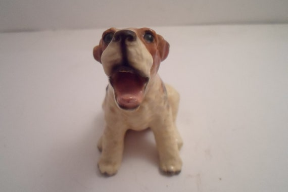 Vintage Morten's Studio Wire Haired Fox Terrier Dog Pup Yawning Tounge Out Adorable Pose Signed and Perfect