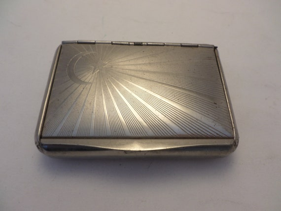 """Vintage 1"""" high stainless steel cigarette box crescent star Art Deco Made in Germany"""