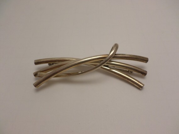 Modernist sterling silver 925 MEXICO fluid lines pin brooch chic and modern