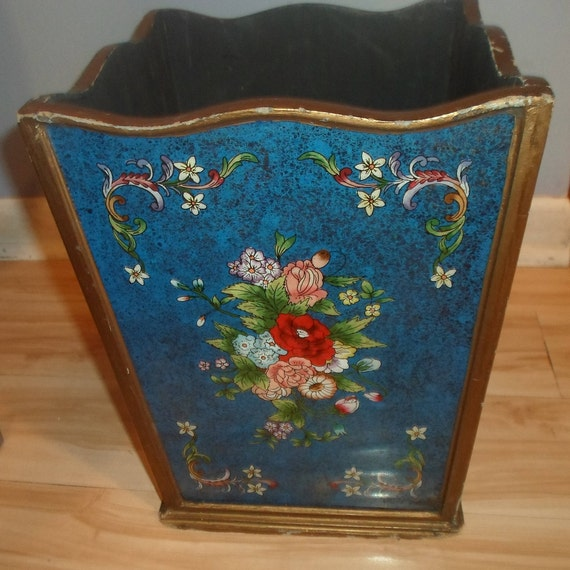 Antique Vintage Reverse Painting on Glass Gold Foil Box Planter Absolutely Stunning Colors Wood Base Glass Panels Shabby Chic Cottage