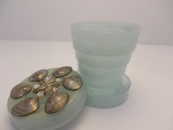 Vintage marbled folding cup and pillbox decorated with metal shells starfish & rhinestones blue