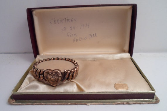 Antique Art Deco Gold Filled Expandable Engraved Heart Bracelet needs tiny repair 1944 Christmas Gift in Hand Written Note on Box Chic