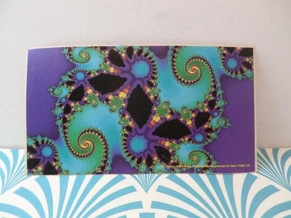 "vintage 90's fractal vinyl sticker deep blue sea tracers 2.5""by4.5"" dead head"