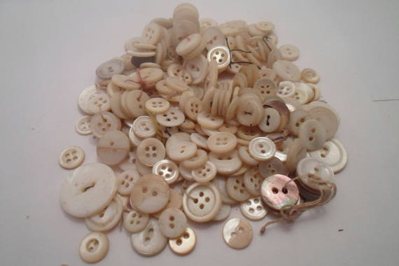 Vintage Early / Mid 1900's Mother of pearl Flat white Ablone Lot of Dress Shirt and Apparel Buttons all sizes Crafter dream Use Repurpose