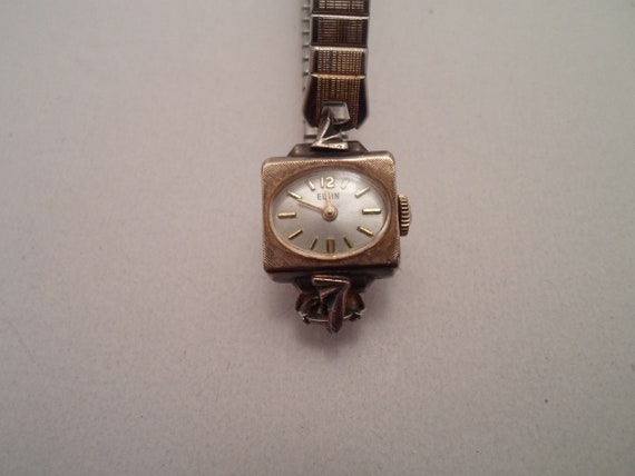 Vintage Elgin Ladies Watch Rolled Gold Plate Unusual Design 1960's
