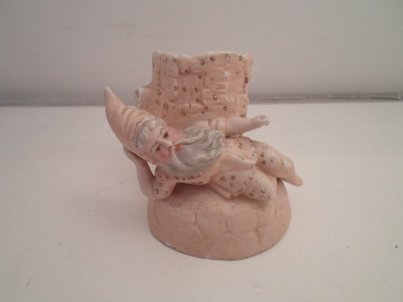 Antique Victorian Hand Painted Bisque Mystic Elf Wizard Posy Vase Holder Rare Detailed Face German Mark