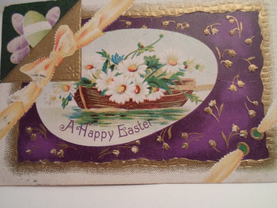 Art Deco Original Easter Greeting Penny Postcard  Gold Medal Label Adressed to Michigan Adorable