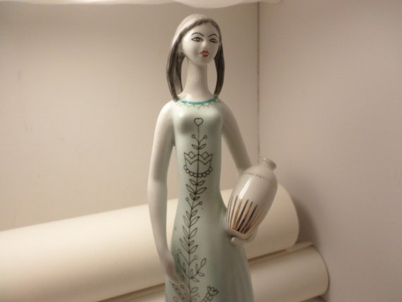 Vtg Mid-Century Modern Hollohaza Hungary woman with urn statue 109