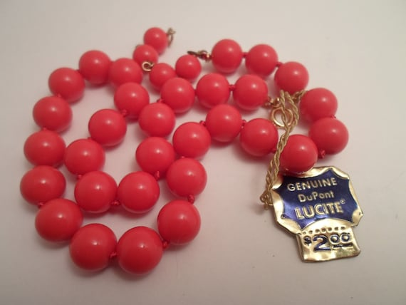 Vintage Richelieu Lucite Red Beads Original Tag Necklace Sweetheart Necklace Genuine DuPont Lucite