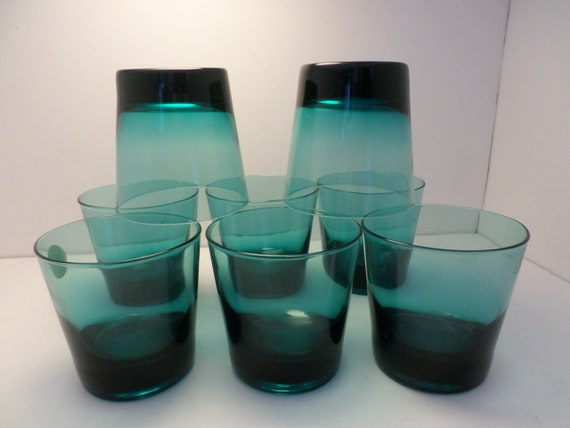 beautiful 70's Fin modern style 8 oz tumblers sheer turquoise 8 pc