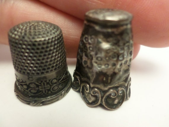 Vintage sewing thimbles 2  silver metal ones no marking but unique