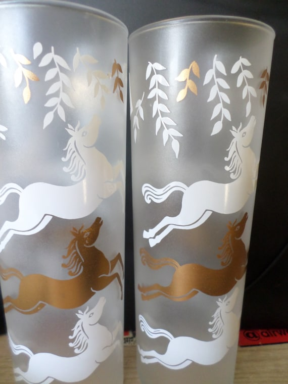 Pretty Vintage 50's glasses gold white horses frosted ice tea glass