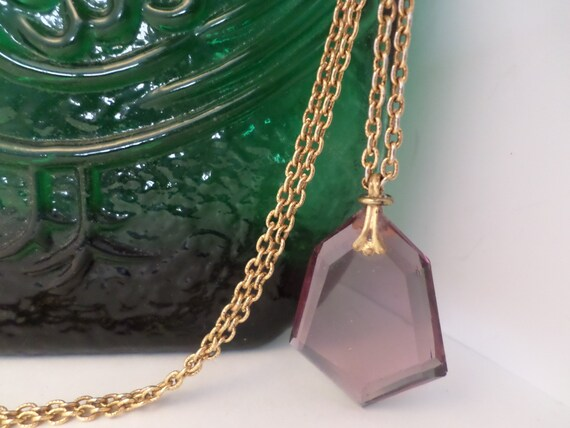 Vintage 70's Amethyst glass pendant on gold tone chain February birthstone