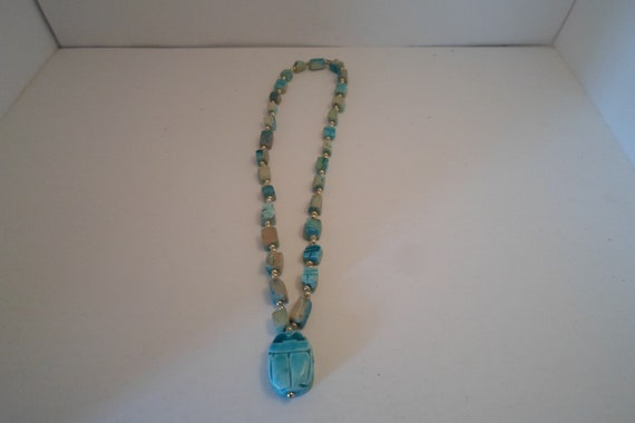 Vintage Turquoise large Scarab Necklace hand made Stones Chic Overhead Fit Mysterious Ethnic Tribal Stunning style