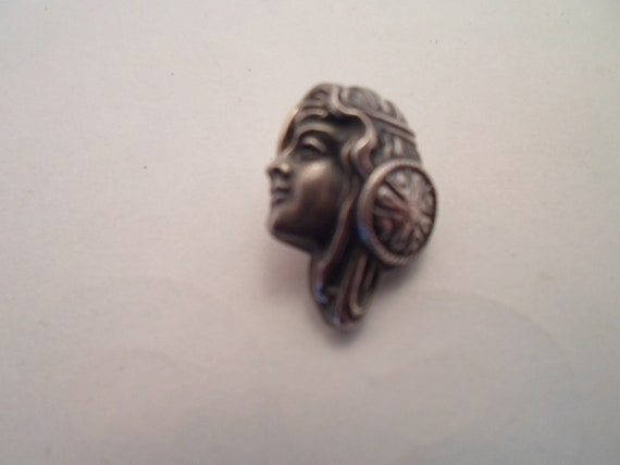 Vintage Art Deco Egyptian Revival Sterling Silver Woman's Head Scarf Pin or Tie Tac Marked 925
