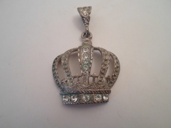 Vintage Antique Sterling Silver Hand Made Crown Regal Pendant Queen Monarch Rhinestones Crosses As found