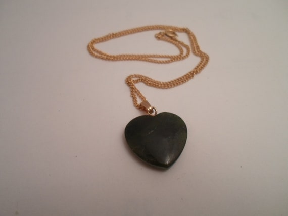 "Vintage Genuine Green Jade Heart Pendant and Chain Highly Polished with 16""chain Sweetheart"