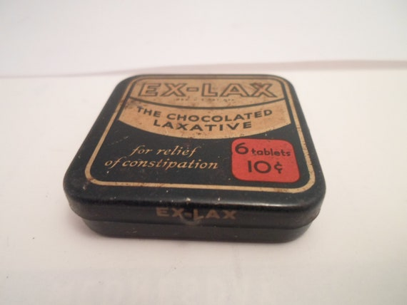 Vintage Ex-Lax Sample Tin The Chocolate Laxative Advertising Medicine Drug Art Deco Era 10 cents