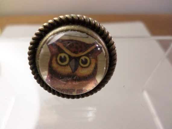 Retro Owl monocle ring adjustable hand made antiques brass metal