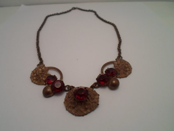 Antique Art Nouveau Necklace Red Garnet Stones Beautiful Blown Out Flowers on Chain  Rare Hard to Find Style