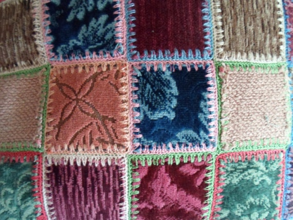 Art Deco Folk Art Patch Work Crazy Quilt Pillows Cottage Chic Farmhouse to City Cool Easy Chair Comfort Sturdy Soft Art Deco Upholstery