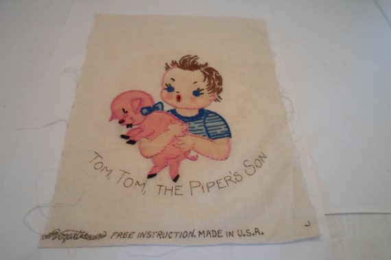 Vintage Antique Vogart Original Detailed Embroidered Quilt Square Pig Piggy Tom Tom Quilt or Frame Farm House Chic